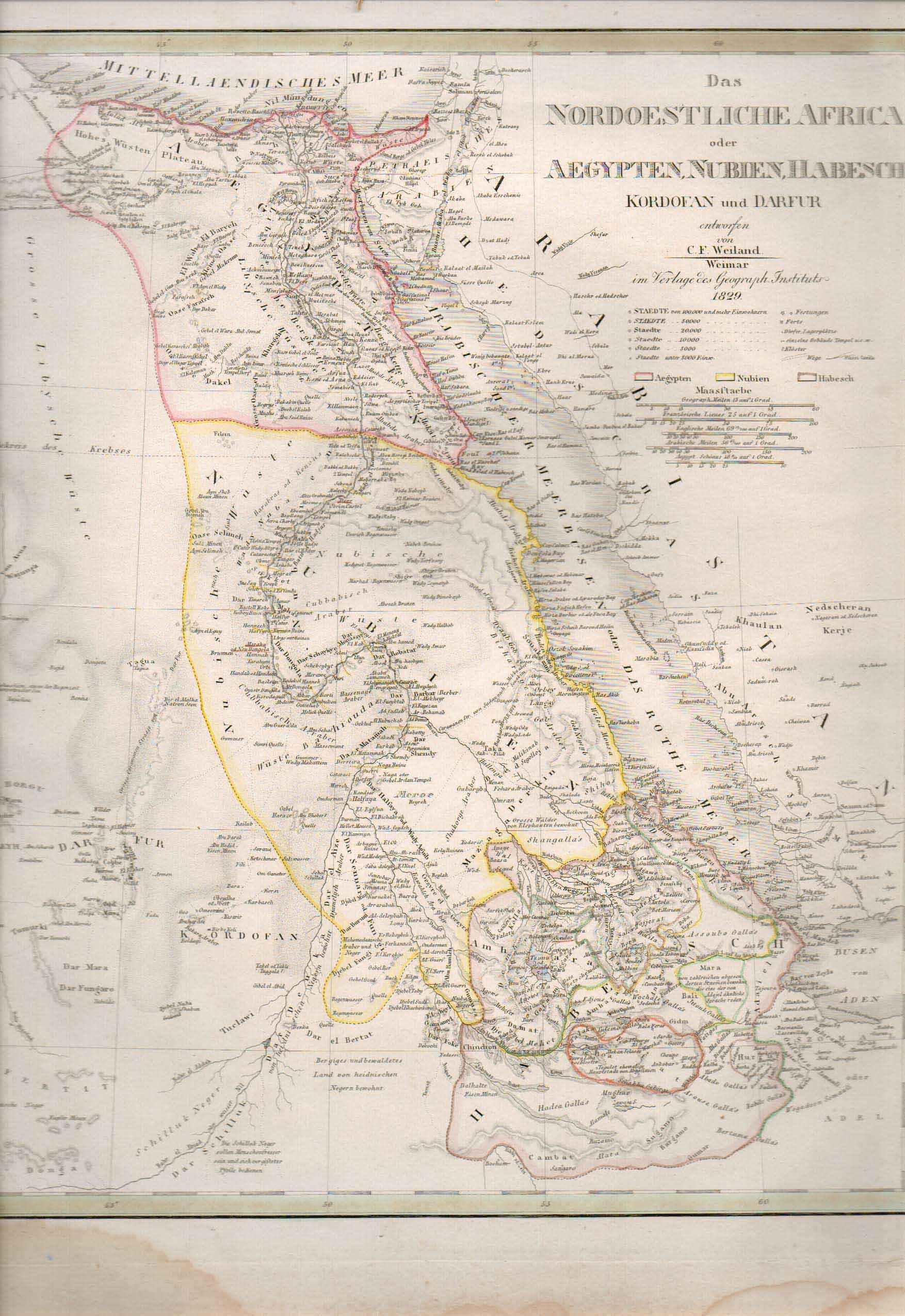 1829 Egypt Arabia Ethiopia Somalia Yemen Map